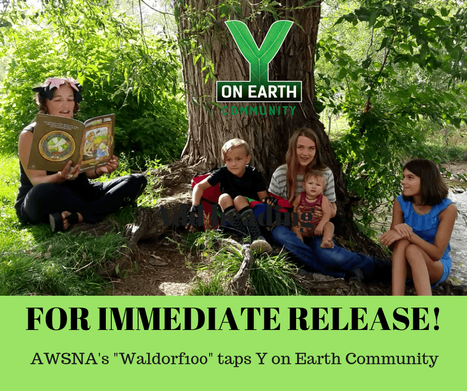For Immediate Release - AWSNA's Waldorf100 taps Y on Earth Community (Image with family reading Celebrating Soil)