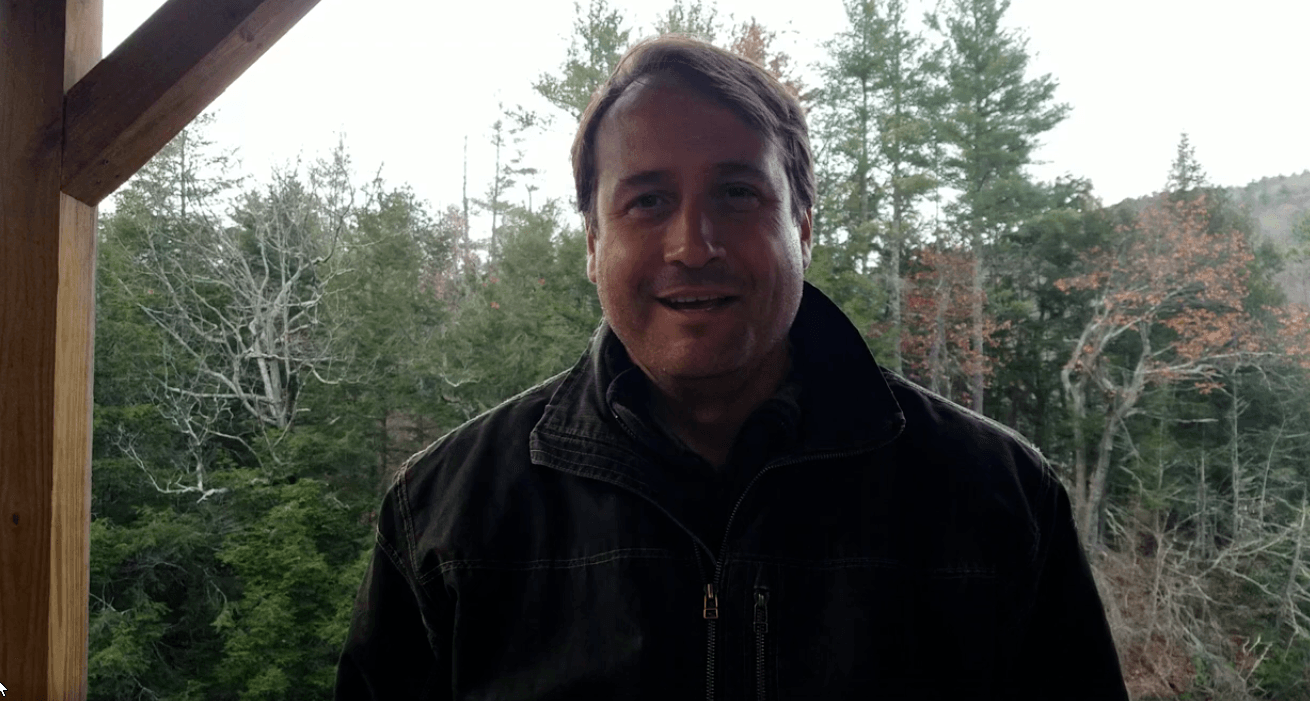 Aaron Perry at Three Sisters Waterfall House New York discussing November 2019 Y on Earth events